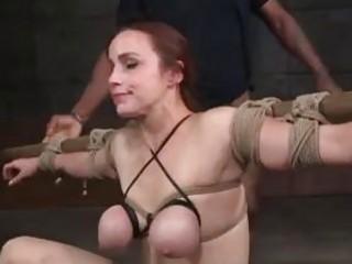 Bound BDSM bitch face fucked hard by kinky master BDSM
