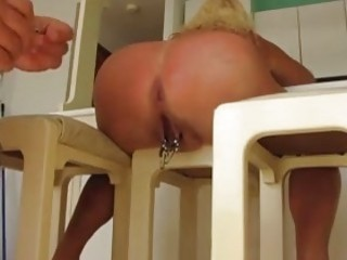 Big ass slut craves for pussy torture with clamps BDSM