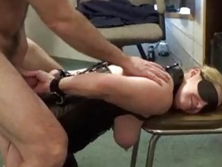 BDSM bound slave bitch with big tits drilled from behind