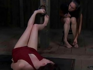 Enthralling beauty in red dress gets a really hard punishment