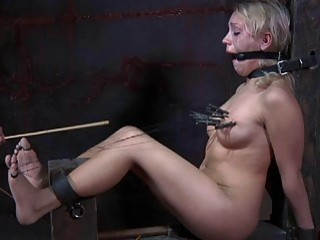 Blonde bitch got her tits tortured while tied up BDSM