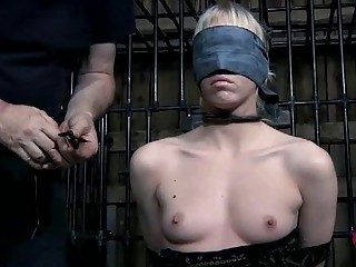 Blonde slave girl with small tits gets nipple tortured BDSM