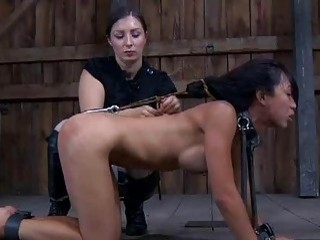 Cute Asian slave girl toyed by her mistress BDSM movie