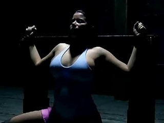 Slave bitch is left on bondage device to suffer BDSM