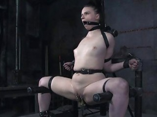 Caged up babe gets her fuck hole tortured hard BDSM