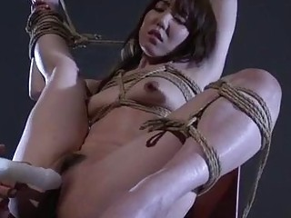 Submissive Japanese wife Rina gets roped tightly and toyed harshly