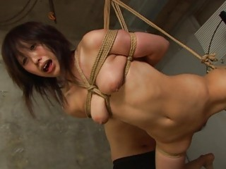 Ravishing Asian sucks his prick while hanging in hard bondage