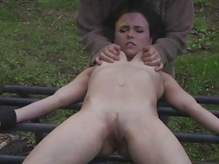 Extreme throat fuck with her hands tied up outdoors BDSM