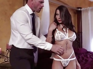 Cutie in white lingerie gets tied up and fucked hard