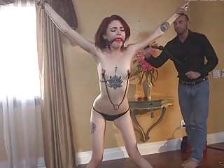 Skinny chick gets dominated by a muscular mature white dude