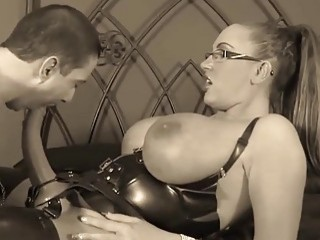 Horny babe forces slave to take dick inside his ass