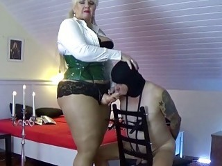 Mistress with a big fat cock demolishes her slaves ass