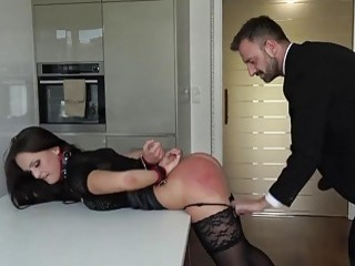 Submissive girl is bent over and fucked hard by DILF