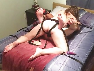 Harsh drilling for her submissive sissy husbands tight love hole