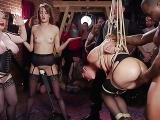 Three sluty slave girls enjoy BDSM and bondage humiliation together