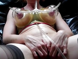 Girl with big tits loves BDSM and torturing her pussy
