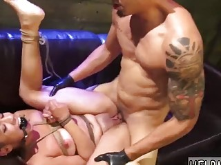 Gorgeous naked tied girl enjoys bondage and rough BDSM fuck