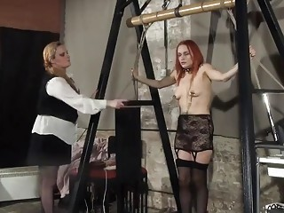 Filthy redheads in stockings adore lesbian BDSM and hardcore abuse