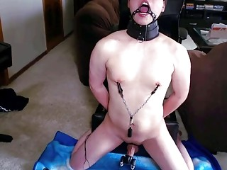 Horny naked boy enjoys BDSM and playing with his body
