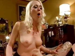 Skinny tattooed guy fucked by blonde dominant mistress BDSM movie