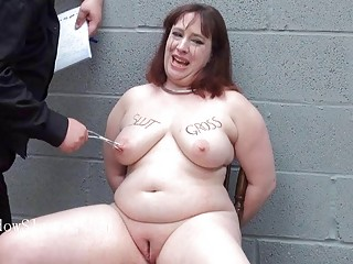 BBW slave cries as her master punishes her with electricity