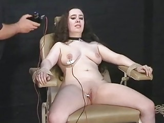 Big breasted slave girl in bondage electrified by master BDSM