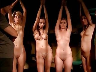 Tied up slave girls get fucked and tortured hard BDSM