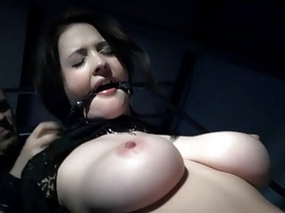 Dazzling chick bounces on a plastic cock in black lingerie