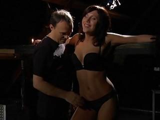 Tenderly teasing the unsuspecting brunette who loves BDSM cock inside