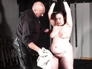Older dom makes his BBW slave cry from hard whipping