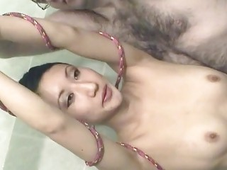 Submissive Asian wife loves getting bound and humiliated with cream