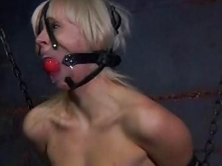 She gets it hard while bound in sex dungeon BDSM