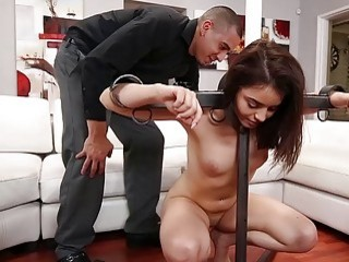 Voluptuous chick is punished and fucked like a little slut