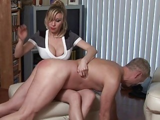 sensitive young blonde girl spanks her mans BDSM-loving ass hole