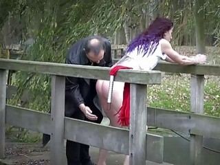 Obscene girl forced to bend over and to fuck BDSM-lover