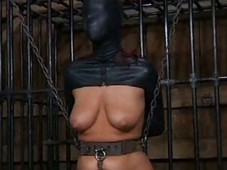 Busty tied up sub slut toyed in sex dungeon BDSM
