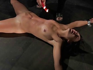 Redhead gets candle wax on her pussy has orgasm BDSM