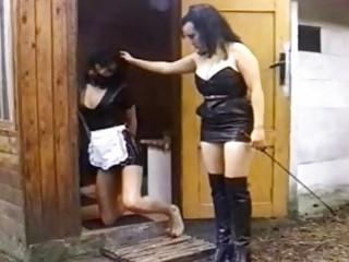 Lezdom mistress punishes her euro lesbian slave outdoors BDSM porn