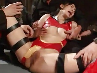 Japanese superheroine gets bound and gangbanged by evildoers BDSM porn