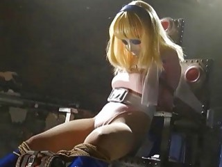 Masked slave girl tied up struggling from pervert master BDSM