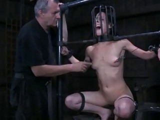Caged and bound bitch humiliated and destroyed by master BDSM