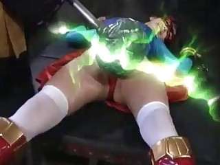Superheroine endures electricity torture from an evil guy BDSM porn