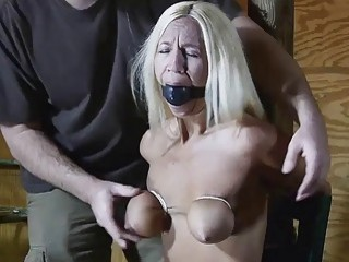 Tied up chick tits and pussy tortured by BDSM master