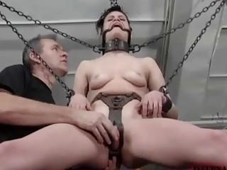 Little bondage bitch Ginger toyed rough by master BDSM porn