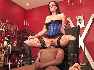 Forced asslicking on motorized facesitting chair by mistress BDSM porn