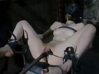 Redhead bondage slave Calico Lane drilled by fuck machine BDSM