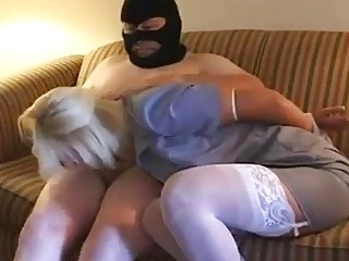 The masked intruder needs a blowjob from bound bitch BDSM