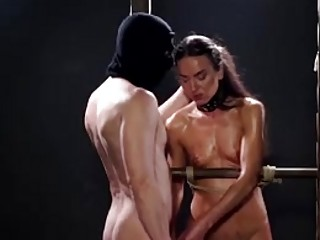 Femdom girl tormented and whipped while tied up BDSM porn
