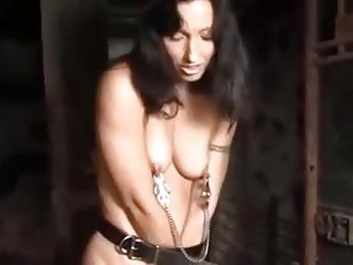 Tits and pussy torture with clamps for bound BDSM slave