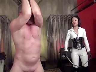 Old fucker suffers whipping from Asian mistress BDSM fetish porn